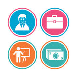 Businessman signs. Human and cash money icons. Royalty Free Stock Photo
