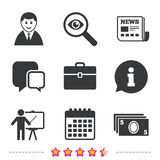 Businessman signs. Human and cash money icons. Stock Image