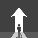Businessman silhouette and arrow royalty free illustration