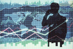 Businessman silhouette on forex background Stock Photography