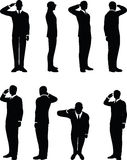 Businessman silhouette in saluting pose isolated on white background Stock Photography