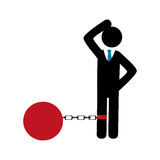 Businessman silhouette with Slave shackle Royalty Free Stock Image