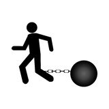 Businessman silhouette with Slave shackle Royalty Free Stock Photos