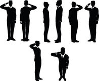 businessman silhouette wih army cap in saluting pose isolated on white background Royalty Free Stock Photos