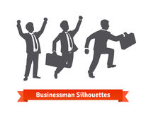 Businessman silhouettes. Happy and stepping up Royalty Free Stock Photography