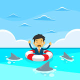 Businessman Sing Sea Water Lifebouy Sharks Around Royalty Free Stock Photo