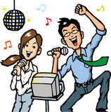 Businessman sing a song. Men and women of businessman singing fun songs Royalty Free Stock Photos