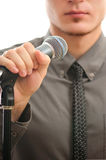 Businessman or singer in grey coat Royalty Free Stock Photo