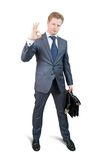 Businessman singing OK Royalty Free Stock Photography