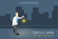 Businessman single man lantern light flat 3d isometric vector. Flat 3d isometric style single man can light up world concept web infographics vector illustration Stock Image