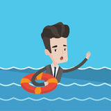 Businessman sinking and asking for help. Royalty Free Stock Photography