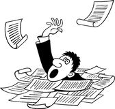 Businessman sinking in heap of documents. Available in high-resolution and several sizes to fit the needs of your project royalty free illustration