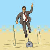 Businessman sinks with weight of debt comic vector Royalty Free Stock Photography