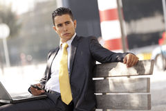 Businessman sit at the bench Royalty Free Stock Photography