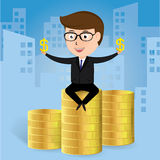 Businessman sit on gold coin, business concept, vector Stock Photo