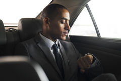 Businessman Sit Inside Car Waiting Stock Images