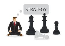 Businessman siting on a chess board thinking of strategy. Concep Stock Photography