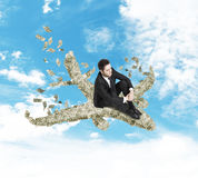 Businessman sitting on a airliner Royalty Free Stock Photography