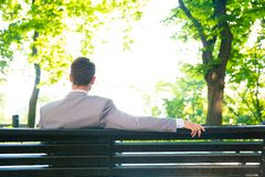 Businessman sitting on the bench outdoors. Back view portrait of a businessman sitting on the bench outdoors Stock Image