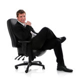 Businessman Sitting on Chair Royalty Free Stock Photography