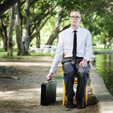 Businessman Sitting Chair Forest Green Concept Stock Photography