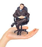 Businessman sitting on chair in hand Stock Images