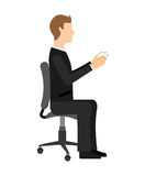 Businessman sitting in a chair  isolated icon design Royalty Free Stock Photo