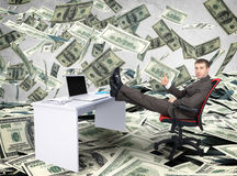Businessman sitting on chair with table laptop Stock Images