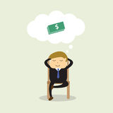 Businessman sitting on chair and thinking about dollars Stock Images
