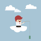 Businessman sitting on cloud with fish hook and dollar bait Royalty Free Stock Image