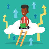 Businessman sitting on cloud with laptop. Royalty Free Stock Photo