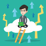 Businessman sitting on cloud with laptop. Royalty Free Stock Photography