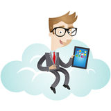 Businessman sitting on cloud with tablet Stock Photo