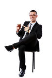 Businessman sitting with cup of coffee Stock Image