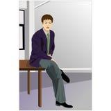Businessman sitting on desk Stock Illustration