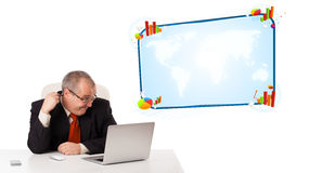 Businessman sitting at desk and looking the laptop with copy spa Royalty Free Stock Image