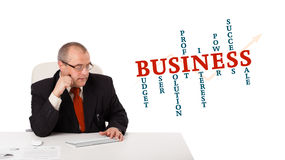 Businessman sitting at desk and typing on keyboard. With word cloud, isolated on white Royalty Free Stock Image