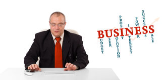 Businessman sitting at desk and typing on keyboard with word clo Stock Images