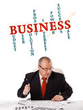 Businessman sitting at desk with word cloud. Isolated on white Stock Photo