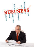 Businessman sitting at desk with word cloud Royalty Free Stock Photography