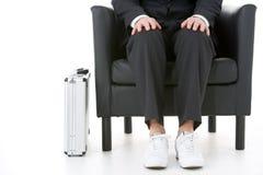 Businessman Sitting Down Wearing Sneakers Stock Image