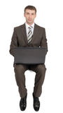 Businessman sitting on empty space Royalty Free Stock Photography