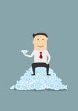 Businessman sitting on heap of shiny diamonds Royalty Free Stock Photo
