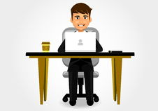 Businessman. Sitting at his desk Royalty Free Stock Photos