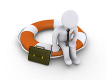 Businessman sitting on lifebuoy. 3d businessman is sitting on round lifebuoy Royalty Free Stock Photography
