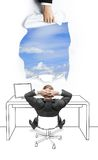 Businessman sitting  and looking at sky Stock Images