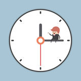Businessman sitting on minute hand of clock with a cup of coffee. VECTOR, EPS10 stock illustration