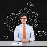 Businessman sitting in office. With drawing cloud Stock Images