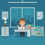 Businessman Sitting in Office and Rejoices Monetary Gain Stock Photos