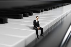 Businessman sitting on piano keys. Side view of young businessman sitting on abstract piano keys. Music, show business concept. 3D Rendering vector illustration